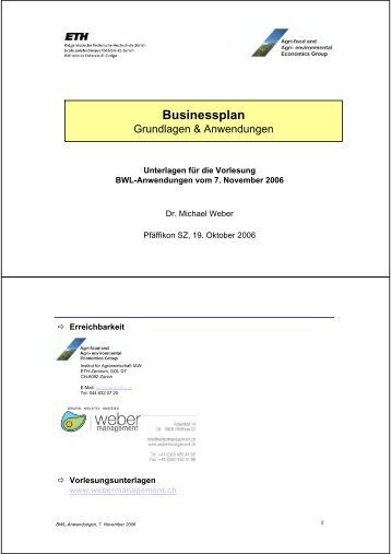 Businessplan - Weber Management
