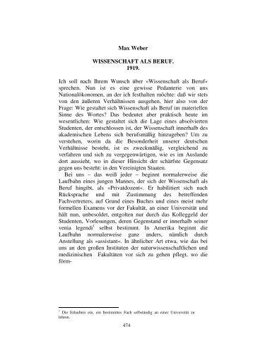 Max Weber - Wissenschaft als Beruf