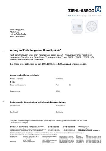 Erstattungsantrag für die Umweltprämie - Ziehl-Abegg AG
