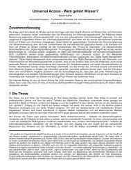 Universal Access - Wem gehört Wissen? Zusammenfassung 1 Die ...