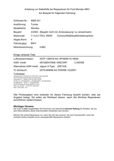 Mondeo Mk3 Selbsthilfe Beispiel Sammelsurium Von Werner