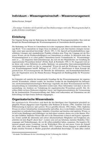 Individuum – Wissensgemeinschaft – Wissensmanagement ...