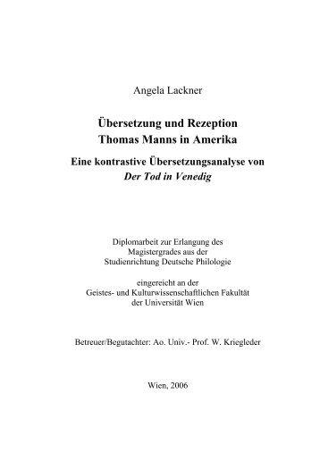 Übersetzung und Rezeption Thomas Manns in Amerika - Institut für ...