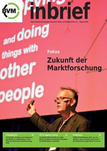 Fokus Zukunft der Marktforschung - Berufsverband Deutscher Markt