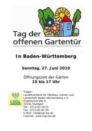 In Baden-Württemberg Sonntag, 27. Juni 2010 - LOGL