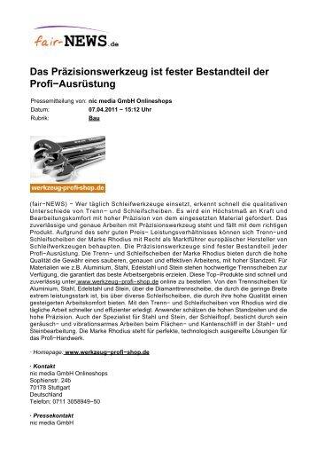 Das Präzisionswerkzeug ist fester Bestandteil der ... - fair-NEWS.de