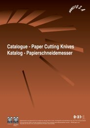 Catalogue - Paper Cutting Knives Katalog - Papierschneidemesser