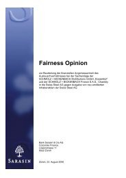 Fairness Opinion - Bank Sarasin & Cie AG