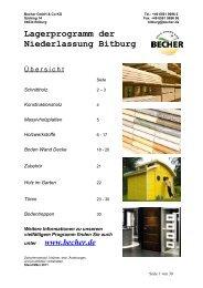 Lagerprogramm der Niederlassung Bitburg - Becher