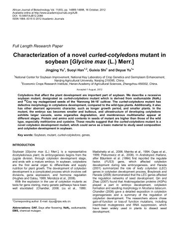 Characterization of a novel curled-cotyledons mutant in soybean ...