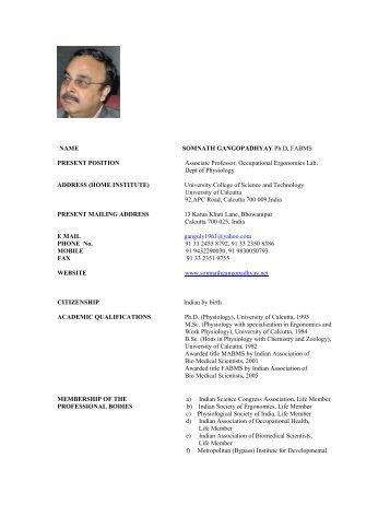 Download Short CV - Dr. somnath gangopadhyay