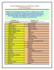List of Other Backward Classes (OBC) in West Bengal More ...