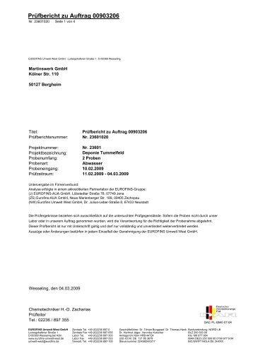 Anlage 3b – Ergebnisse der Analyse des ... - LANUV NRW