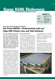 Die Firma WESTA – Fördertechnik setzt auf Sage KHK Classic Line ...