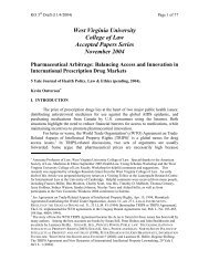 West Virginia University College of Law Accepted Papers Series ...