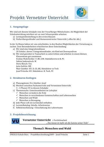 VU Projekt: Vernetzter Unterricht