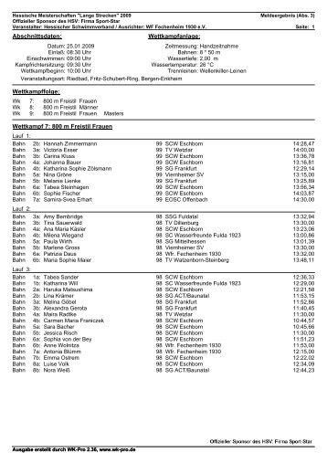 Wettkampf 7: 800 m Freistil Frauen - SG Frankfurt