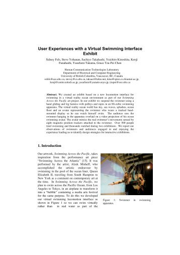 User Experiences with a Virtual Swimming Interface ... - CiteSeerX