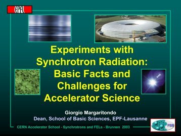 Experiments with Synchrotron Radiation - CERN Accelerator School