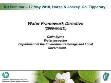 Water Framework Directive - Colin Byrne - The Institute of Geologists ...