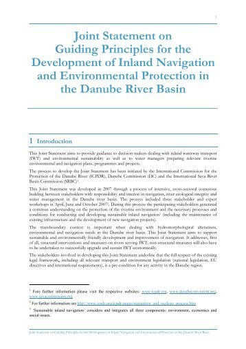 Joint Statement on Guiding Principles for the Development of Inland ...