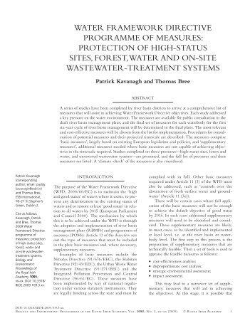 Water Framework Directive Programme of ... - ESB International