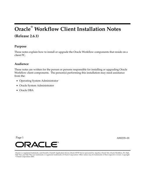 Oracle Workflow Client Installation Notes, Release 2 6 1