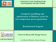 Computer Modelling of the Rankine Cycle - LOW-BIN Geothermal ...