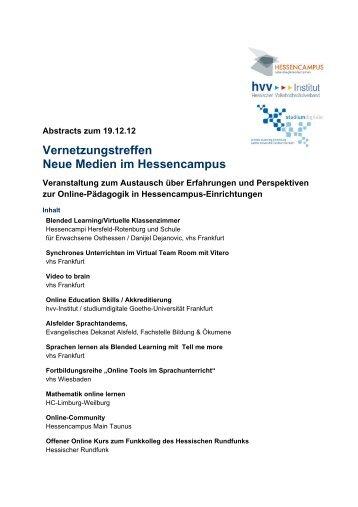 Vernetzungstreffen Neue Medien im Hessencampus - Goethe ...