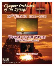 Click Here For Concert Program - Chamber Orchestra of the Springs