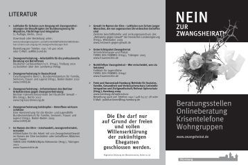 Nein zur Zwangsheirat! Beratungsstellen - Stadt Nürnberg