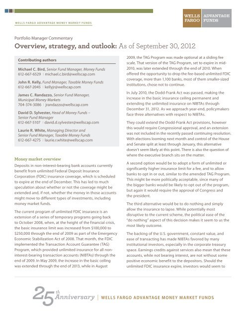 Overview, strategy, and outlook - Wells Fargo Advantage Funds