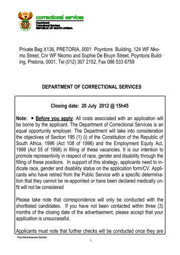 Private Bag X136, PRETORIA, 0001 Poyntons Building, 124 WF Nko ...