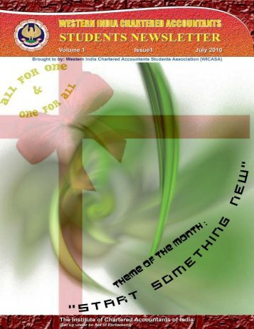 July Issue - Western India Regional Council Of ICAI