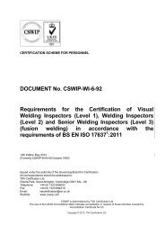 DOCUMENT No. CSWIP-WI-6-92 Requirements for the Certification ...