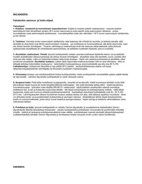 WICANDERS: Vahakorkin asennus- ja hoito-ohjeet