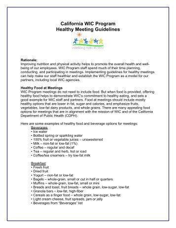 Wic Food Guidelines Ca