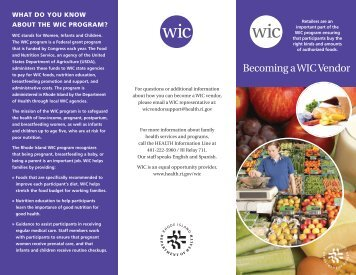 Becoming a WIC Vendor - Rhode Island Department of Health - RI.gov