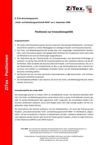 Positionen zur Innovationspolitik - ZiTex