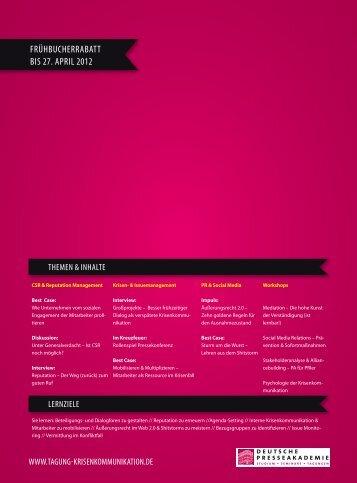 frühbucherrabatt bis 27. april 2012 - Tagung Krisenkommunikation de