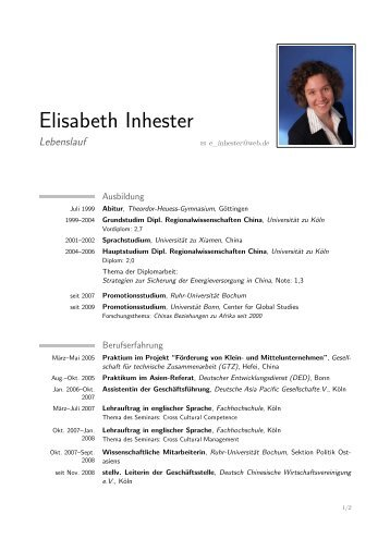 Lebenslauf - Universität Bonn – Center for Global Studies (CGS)