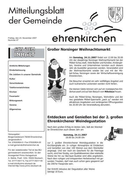 Grosser Norsinger Weihnachtsmarkt Gemeinde Ehrenkirchen