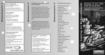 Aktueller Flyer zum Weihnachtsmarkt 2012 - Gewerbeverein Aadorf