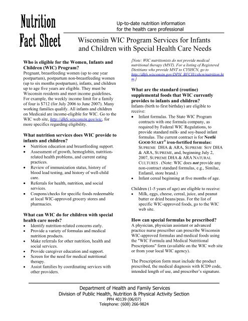 WIC Special Needs Fact Sheet, PPH 40139