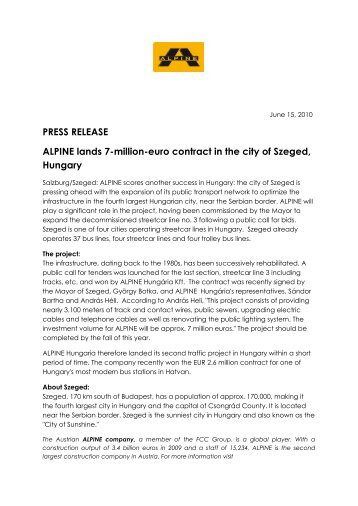 PRESS RELEASE ALPINE lands 7-million-euro contract in the city of ...