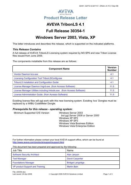 30354-1 TribonLS 4 1 - AVEVA Product Support