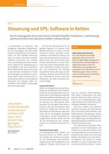 Steuerung und SPS: Software in Ketten - wibu-systems ag