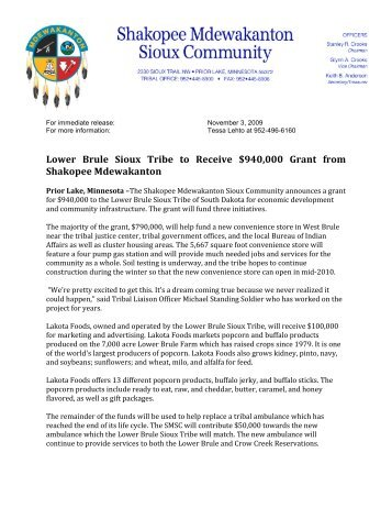 Lower Brule Sioux Tribe to Receive $940,000 Grant from Shakopee ...