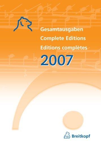 Gesamtausgaben Complete Editions Editions complètes Breitkopf ...