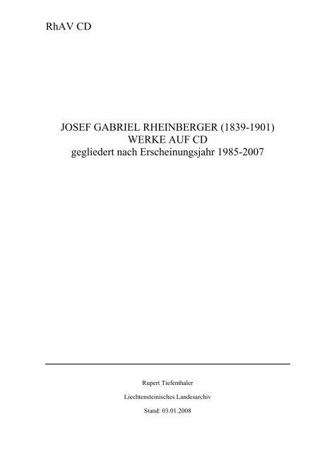 RhAV CD JOSEF GABRIEL RHEINBERGER (1839-1901) WERKE ...